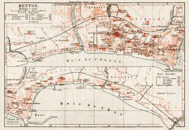 Menton town plan, 1913. Use the zooming tool to explore in higher level of detail. Obtain as a quality print or high resolution image