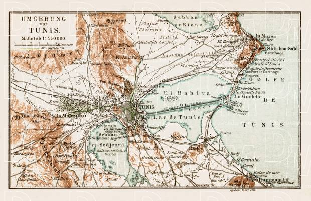 Map of the environs of Tunis, 1913. Use the zooming tool to explore in higher level of detail. Obtain as a quality print or high resolution image