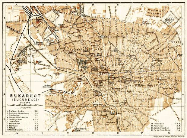 Old map of Bucharest Bucureti in 1905 Buy vintage map replica