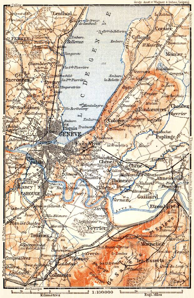 Geneva (Genf, Genève) and environs map, 1897. Use the zooming tool to explore in higher level of detail. Obtain as a quality print or high resolution image