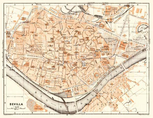 Old map of Seville Sevilla in 1929 Buy vintage map replica poster