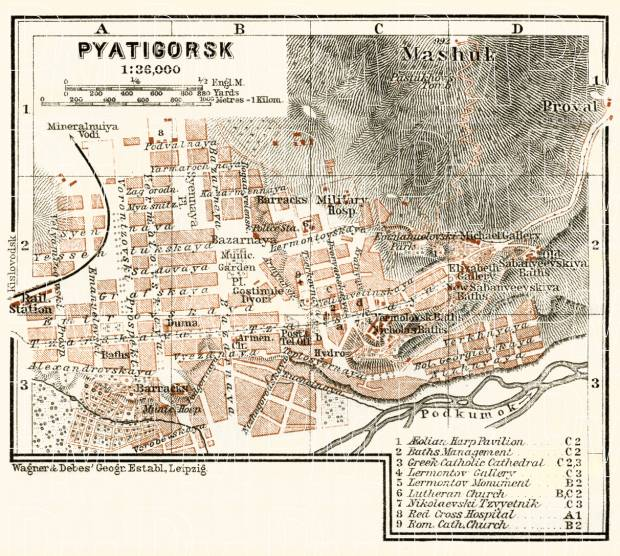 Pyatigorsk (Пятигорскъ) city map, 1914. Use the zooming tool to explore in higher level of detail. Obtain as a quality print or high resolution image