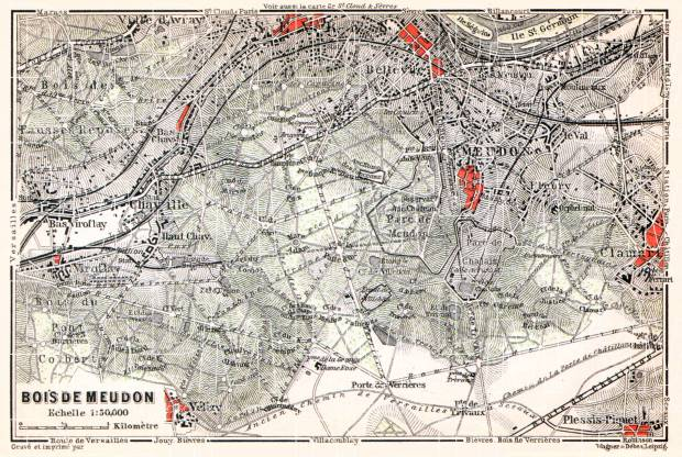 Forest of Meudon (Bois de Meudon) map, 1910. Use the zooming tool to explore in higher level of detail. Obtain as a quality print or high resolution image