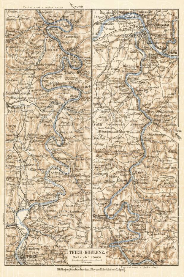 Map of the Course of the Mosel River from Koblenz to Trier, 1927. Use the zooming tool to explore in higher level of detail. Obtain as a quality print or high resolution image