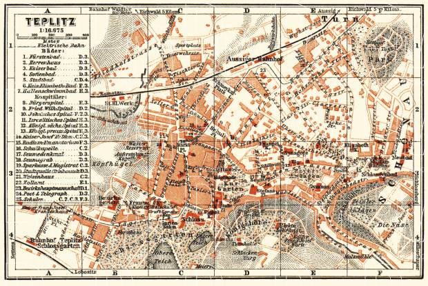 Teplitz (Teplice) city map, 1913. Use the zooming tool to explore in higher level of detail. Obtain as a quality print or high resolution image