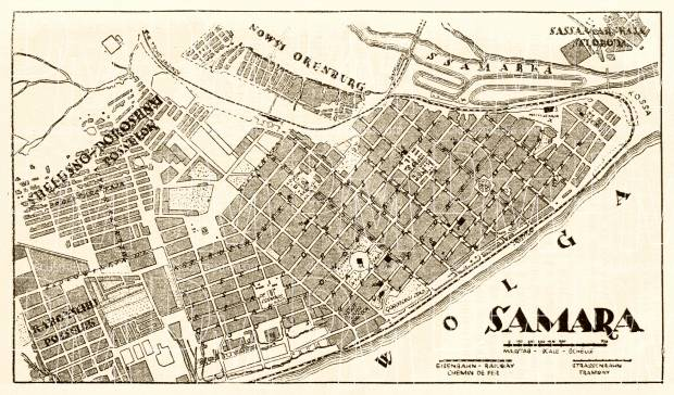 Samara (Самара) city map, 1928. Use the zooming tool to explore in higher level of detail. Obtain as a quality print or high resolution image