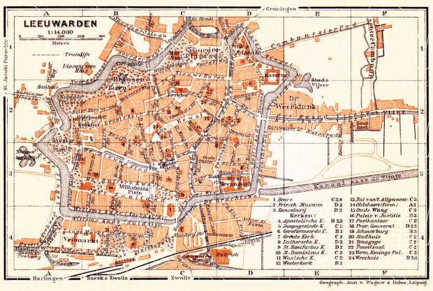 Old map of Leeuwarden in 1904 Buy vintage map replica poster print