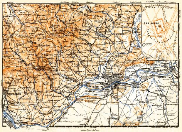 Frankfurt (Frankfurt-am-Main) and environs map, 1905. Use the zooming tool to explore in higher level of detail. Obtain as a quality print or high resolution image