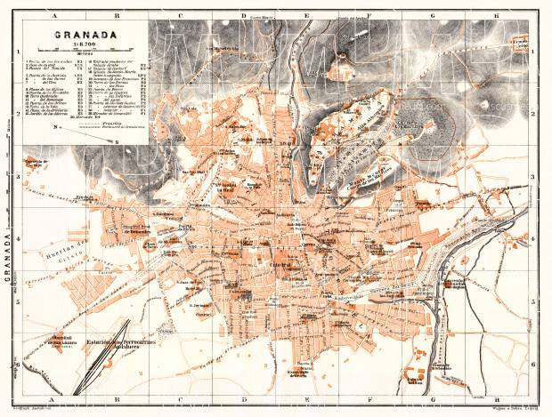 Granada city map, 1929. Use the zooming tool to explore in higher level of detail. Obtain as a quality print or high resolution image