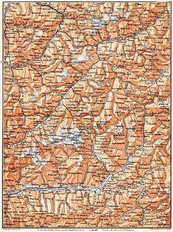 Engadin Valley and Valtellina district map, 1897