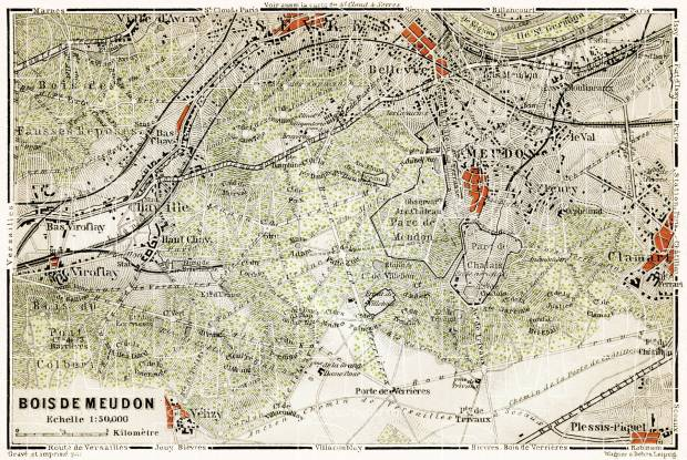 Bois de Meudon - the Forest of Meudon map, 1903. Use the zooming tool to explore in higher level of detail. Obtain as a quality print or high resolution image