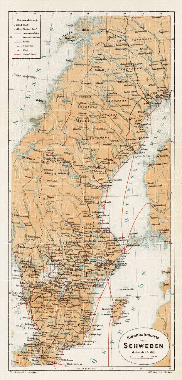 Sweden General Map, 1899. Use the zooming tool to explore in higher level of detail. Obtain as a quality print or high resolution image