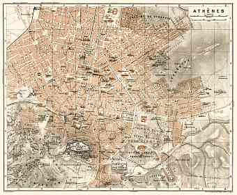 Athens (Αθήνα) city map, 1911