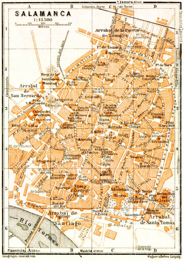 Salamanca city map, 1929. Use the zooming tool to explore in higher level of detail. Obtain as a quality print or high resolution image