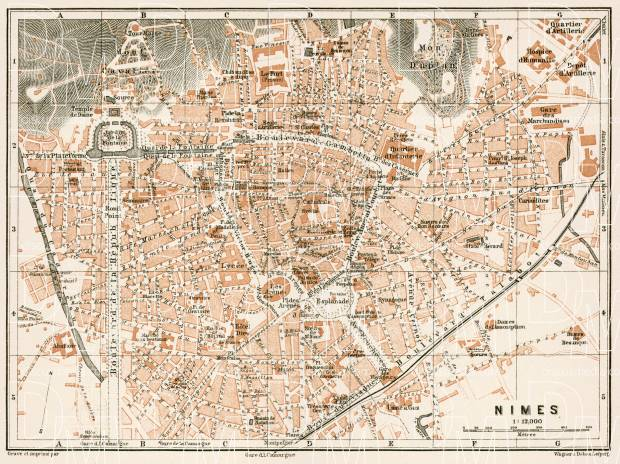 Nîmes city map, 1902. Use the zooming tool to explore in higher level of detail. Obtain as a quality print or high resolution image