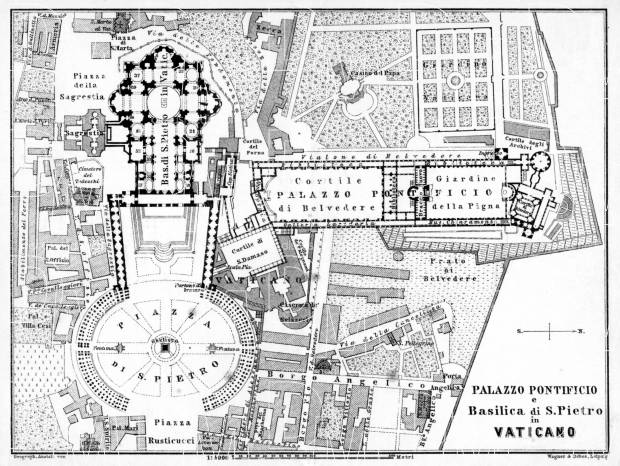 Vatican City (Holy See) map, 1898. Use the zooming tool to explore in higher level of detail. Obtain as a quality print or high resolution image