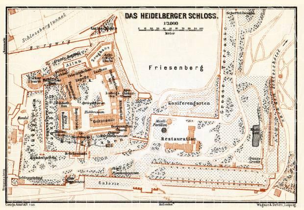 Old Map Of Heidelberg Castle Heidelberg Schlo 223 In 1905 Buy Vintage Map Replica Poster Print