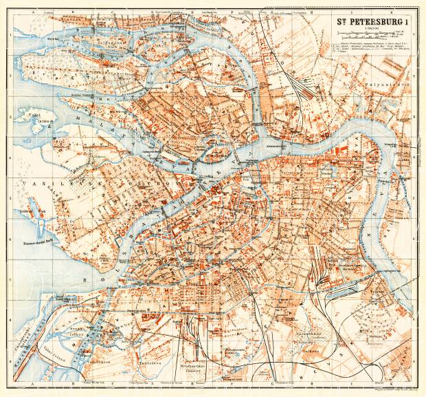 Saint Petersburg (Санктъ-Петербургъ, Sankt-Peterburg) city map (in English), 1914. Use the zooming tool to explore in higher level of detail. Obtain as a quality print or high resolution image