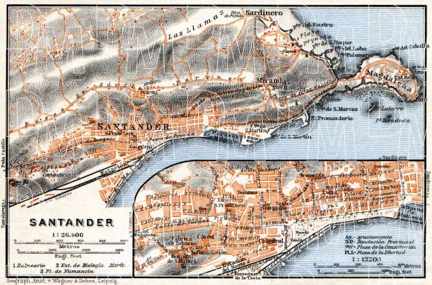 Santander town plan. Environs of Santander map, 1929. Use the zooming tool to explore in higher level of detail. Obtain as a quality print or high resolution image