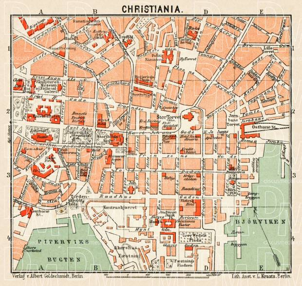 Christiania (Oslo) city centre map, 1911. Use the zooming tool to explore in higher level of detail. Obtain as a quality print or high resolution image