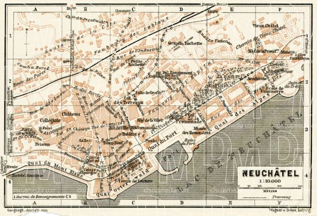 Neuchâtel city map, 1909. Use the zooming tool to explore in higher level of detail. Obtain as a quality print or high resolution image