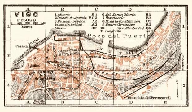 Vigo town plan, 1913. Use the zooming tool to explore in higher level of detail. Obtain as a quality print or high resolution image