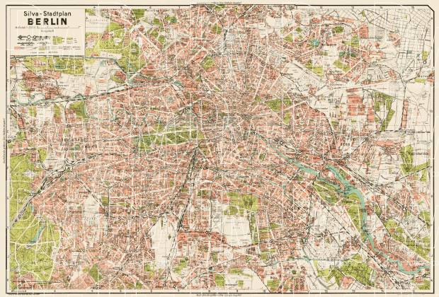 Berlin city map, 1938 (Silva-Stadtplan Berlin). Use the zooming tool to explore in higher level of detail. Obtain as a quality print or high resolution image