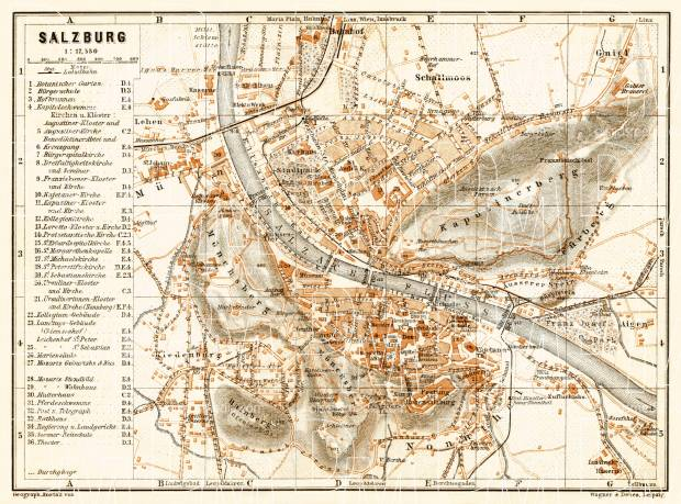 Salzburg city map, 1906. Use the zooming tool to explore in higher level of detail. Obtain as a quality print or high resolution image