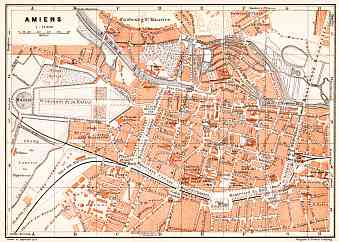 Amiens city map, 1910