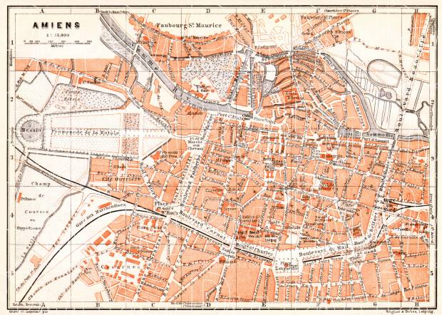 Amiens city map, 1910. Use the zooming tool to explore in higher level of detail. Obtain as a quality print or high resolution image
