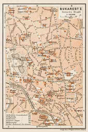 Bucharest (Bucureşti) central part map, 1914