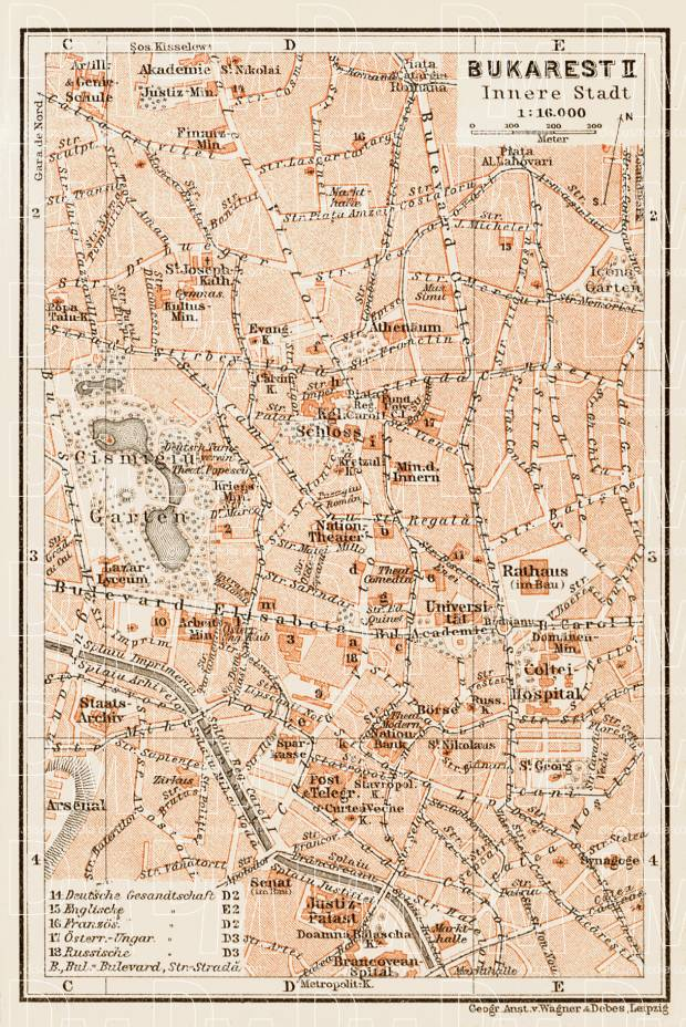 Old map of Bucharest Bucureti Center in 1914 Buy vintage map