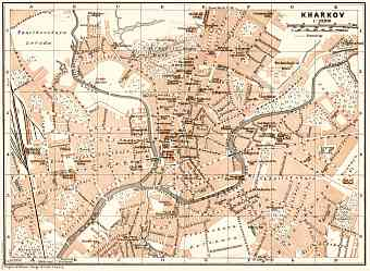 Kharkov (Kharkiv) city map, 1914