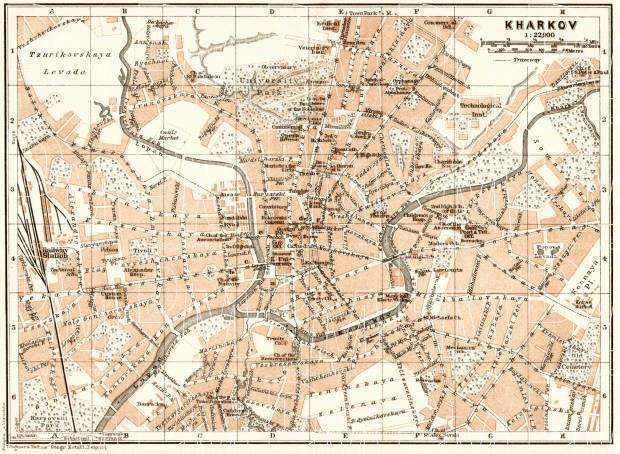 Kharkov (Kharkiv) city map, 1914. Use the zooming tool to explore in higher level of detail. Obtain as a quality print or high resolution image