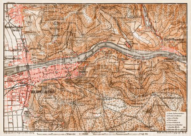 Heidelberg and nearer environs map, 1909. Use the zooming tool to explore in higher level of detail. Obtain as a quality print or high resolution image