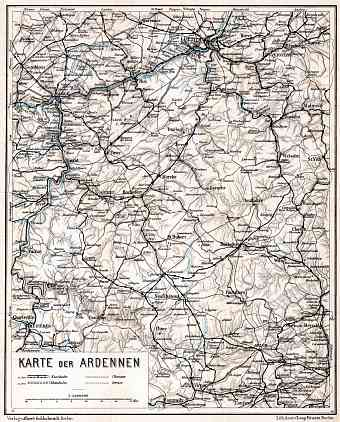 Belgium on the general map of the Ardennes, 1908