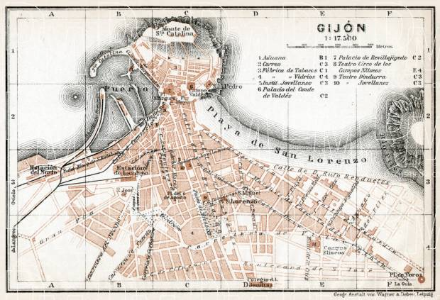 Gijón city map, 1913. Use the zooming tool to explore in higher level of detail. Obtain as a quality print or high resolution image