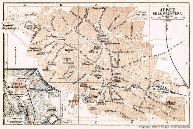 Jerez de la Frontera city map, 1913. Use the zooming tool to explore in higher level of detail. Obtain as a quality print or high resolution image