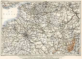 Luxembourg on the North France map, 1909