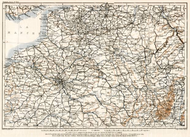 Luxembourg on the North France map, 1909. Use the zooming tool to explore in higher level of detail. Obtain as a quality print or high resolution image