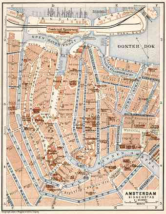 Amsterdam, central part map, 1909
