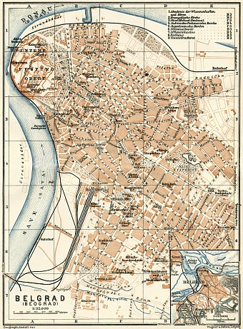 Belgrade (Београд, Beograd) city map. Environs of Belgrade, 1929