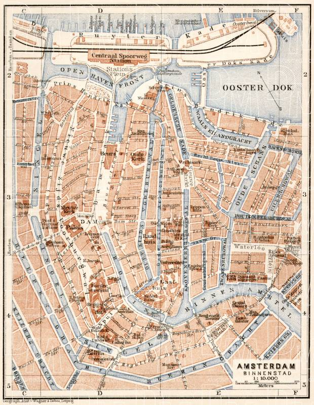 Amsterdam, central part map, 1909. Use the zooming tool to explore in higher level of detail. Obtain as a quality print or high resolution image
