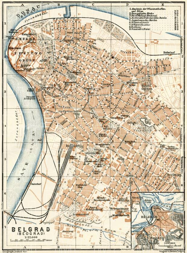 Belgrade (Београд, Beograd) city map. Environs of Belgrade, 1929. Use the zooming tool to explore in higher level of detail. Obtain as a quality print or high resolution image