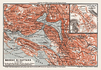 Map of the Gulf of Kotor (Boka Kotorska) and Cetinje town plan, 1913