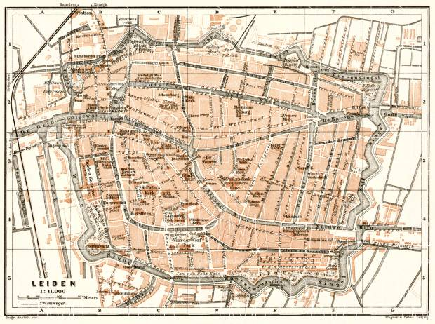 Leiden city map, 1909. Use the zooming tool to explore in higher level of detail. Obtain as a quality print or high resolution image