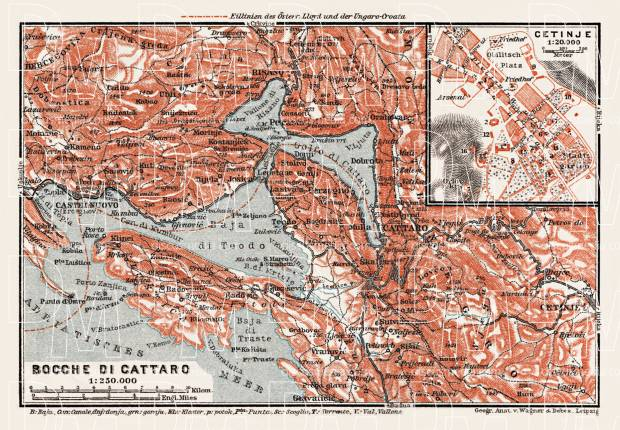 Map of the Gulf of Kotor (Boka Kotorska) and Cetinje town plan, 1913. Use the zooming tool to explore in higher level of detail. Obtain as a quality print or high resolution image