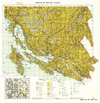 Old Map Of Salmi Salmi And Vicinity In 1940 Buy Vintage Map