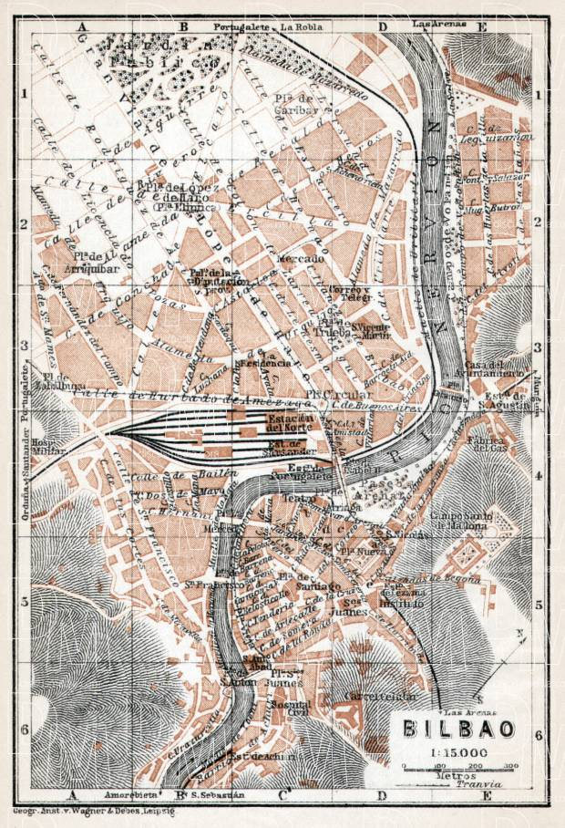 Old map of Bilbao in 1913 Buy vintage map replica poster print or
