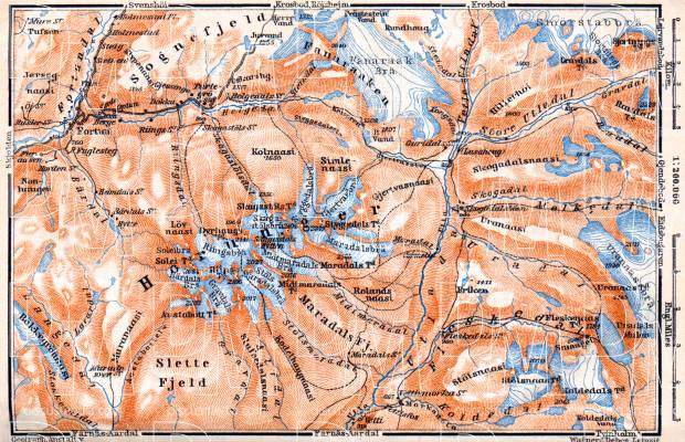 Horung Mountains map, 1910. Use the zooming tool to explore in higher level of detail. Obtain as a quality print or high resolution image